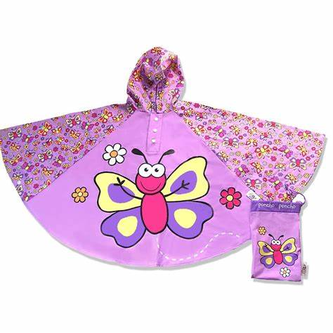 Bugzz Children's Waterproof Poncho - Purple Butterfly