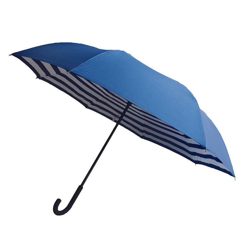 NEW Revolutionary Umbrella Design The Vice Versa Reverse Umbrella - Navy / White Stripe