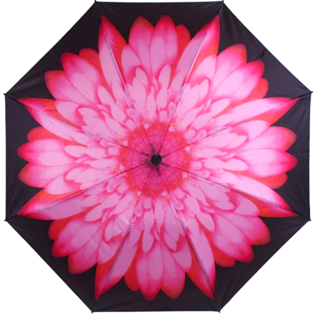 Pink Daisy Print Reverse 'Inside Out'  Folding Auto Umbrella
