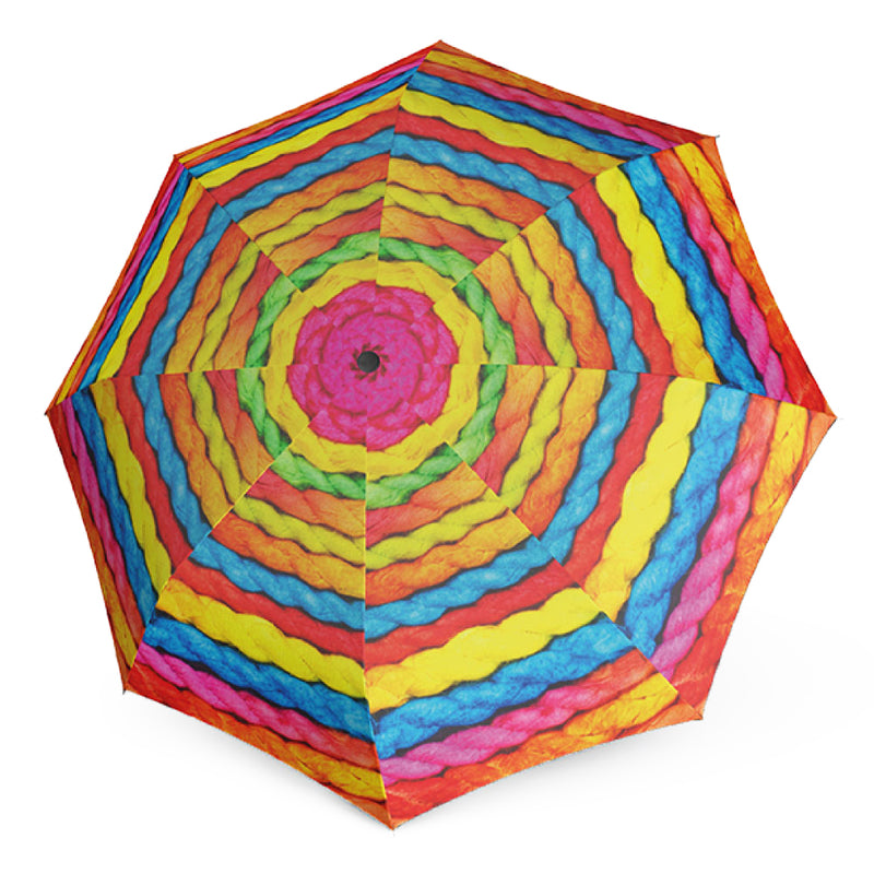 "Doppler Modern Art Collection ""Wooly"" Rainbow Print Automatic Walking Umbrella"