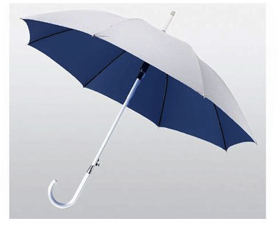 Aluminium Automatic Walking Umbrella - Silver / Navy