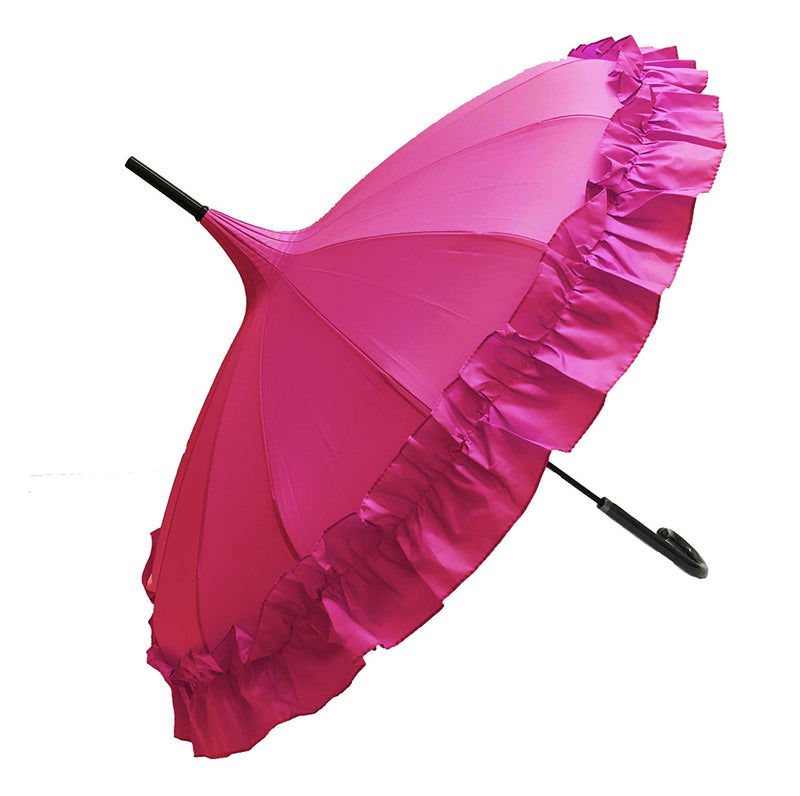Ladies 'Sofia' Frilled Edge Pagoda Walking  Umbrella - Hot Pink