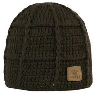 Barts Mens 'Square Beanie' Brown Knitted Hat