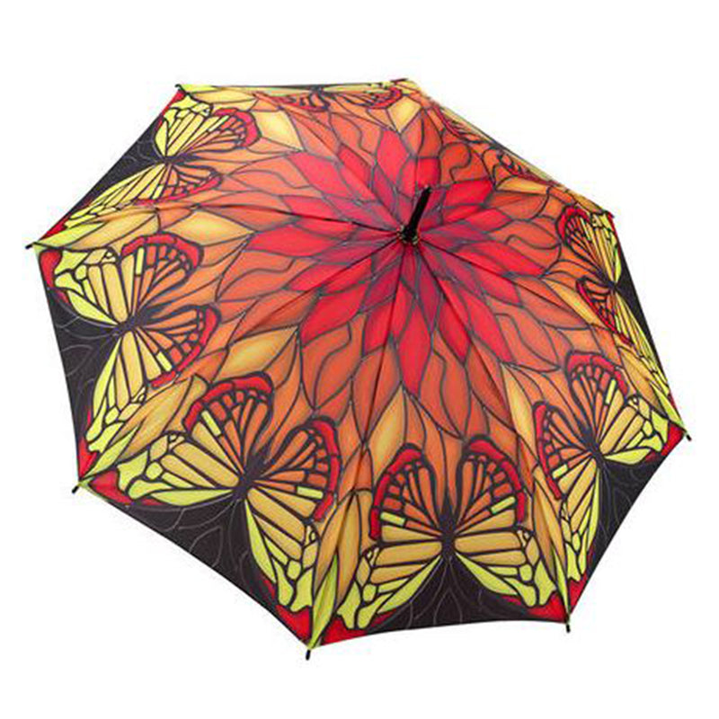 Galleria Automatic Walking Umbrella - Stained Glass Butterfly