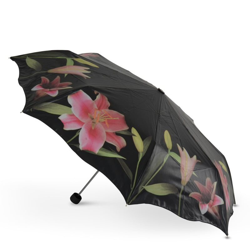 Cascada Collection Stargazer Lilies Floral Folding Umbrella