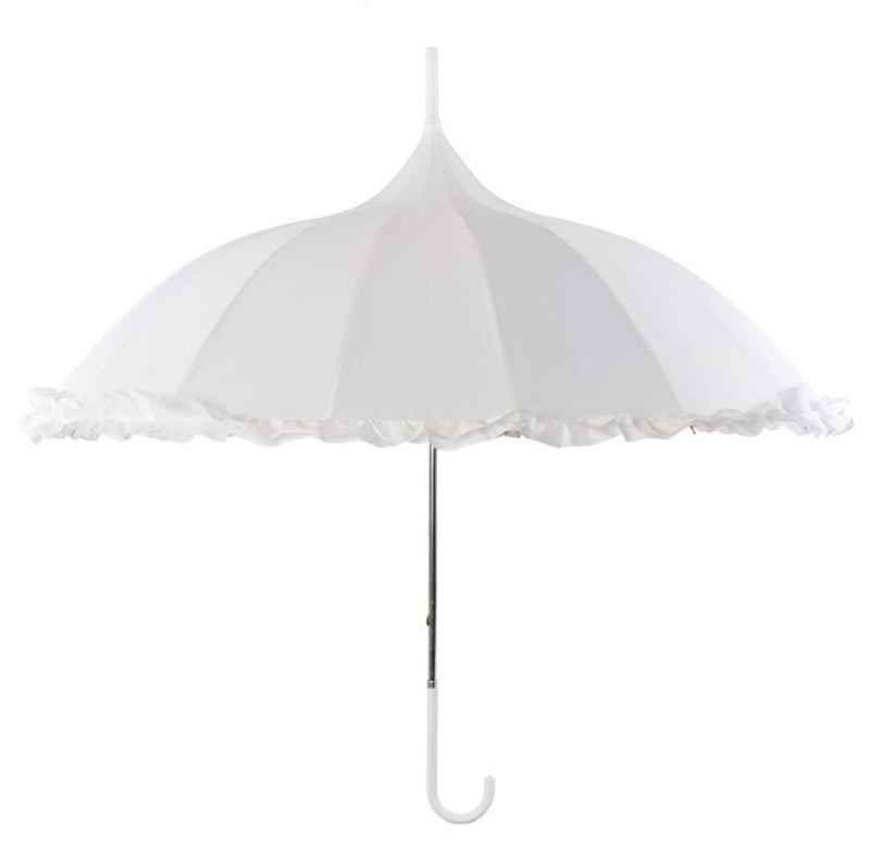 Ornate Oriental Pagoda Umbrella Walking Length - White with Frill Trim