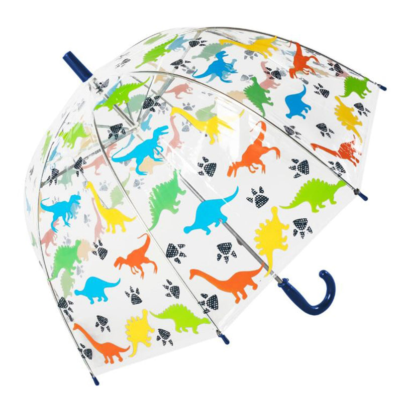 Susino Junior Manual Clear Dome Umbrella - Colourful Dinosaurs
