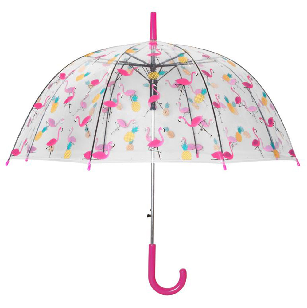 Susino Printed Auto Clear Dome Umbrella - Flamingo & Pineapple