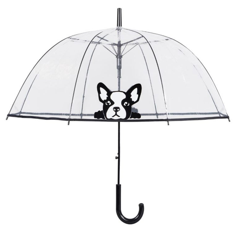 Susino Printed Auto Clear Dome Umbrella - 'Frenchie' French Bulldog