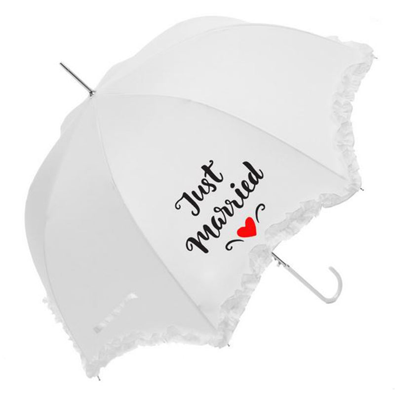 Susino Ladies Wedding Frill Auto Walking Umbrella with Just Married Print - White