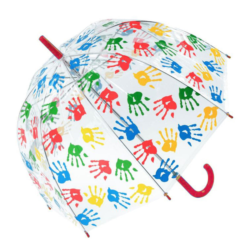 Susino Junior Hand Print Printed Manual Clear Dome Umbrella - Red Handle