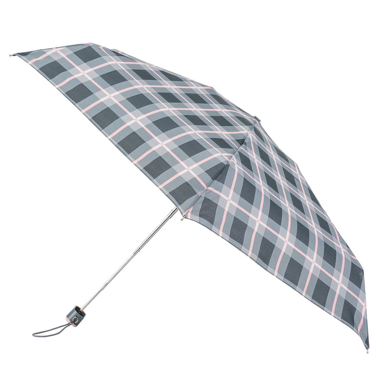 Totes Compact Flat 5 Section Folding Umbrella - Grey / Pink Check