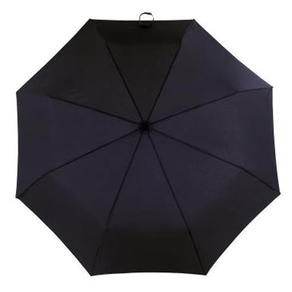 Totes Manual Leatherette Crook Handle Folding Umbrella - Black