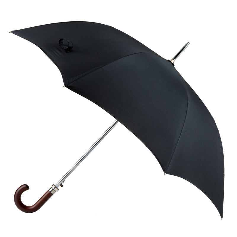 Totes Automatic Black Walking Umbrella with Wood Handle