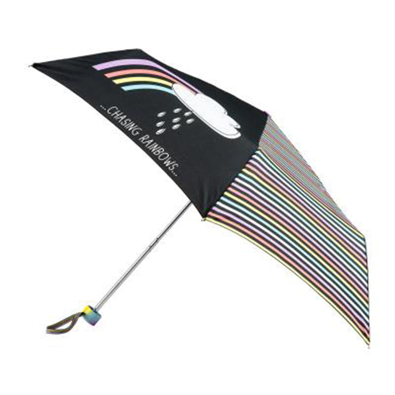 Totes Mini 3 Section Folding Umbrella with Ombre Handle - Chasing Rainbows Print