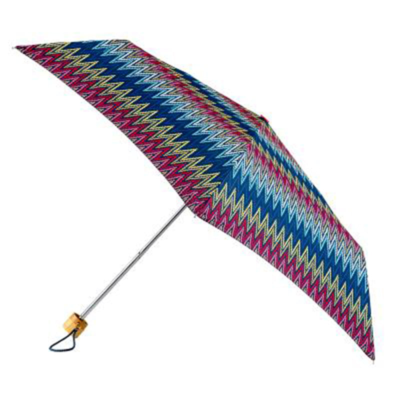 Totes Mini 3 Section Folding Umbrella with Rattan Effect Handle - Basket Weave Print