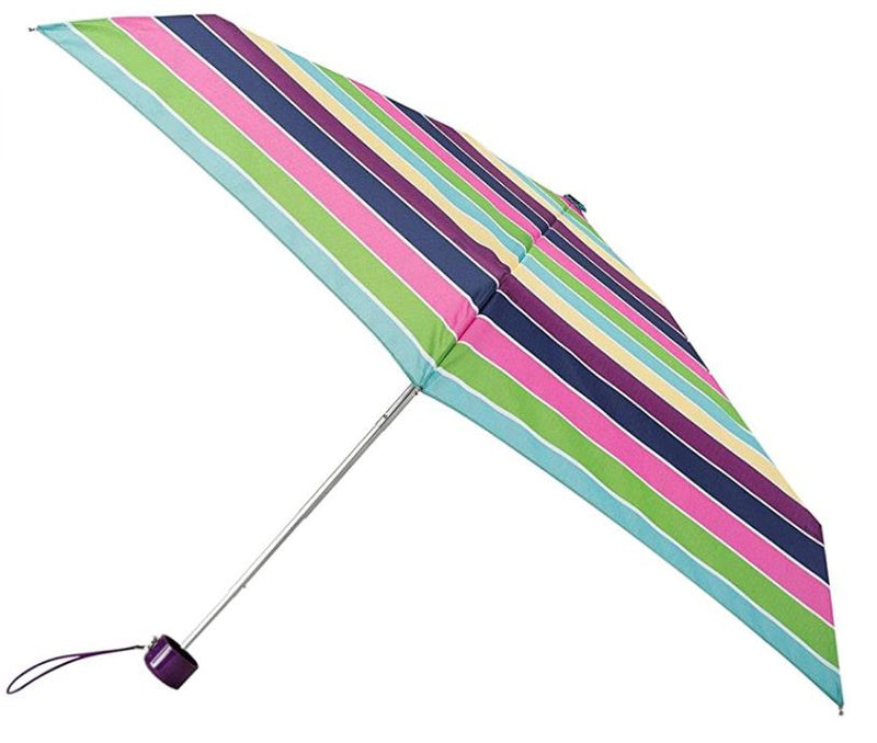 Totes Compact Round 5 Section Folding Umbrella - Block Stripe