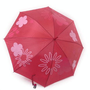 Floral Automatic Walking Umbrella in Red