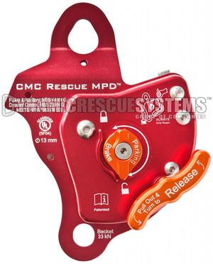 Rescue MPD, Pulley Belay Descender - NFPA, 13 mm, Red, CMC - CMC - Dynamic Rescue