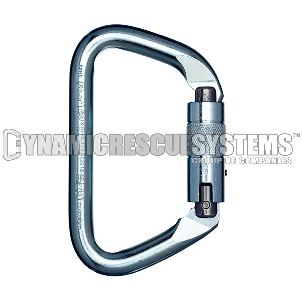 Large Steel Safety Locking D Carabiner - SMC - SMC - Dynamic Rescue