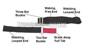 1 3/4 in. Restraint Strap/Metal Buckle, Red/Black - Traverse Rescue - Traverse Rescue - Dynamic Rescue