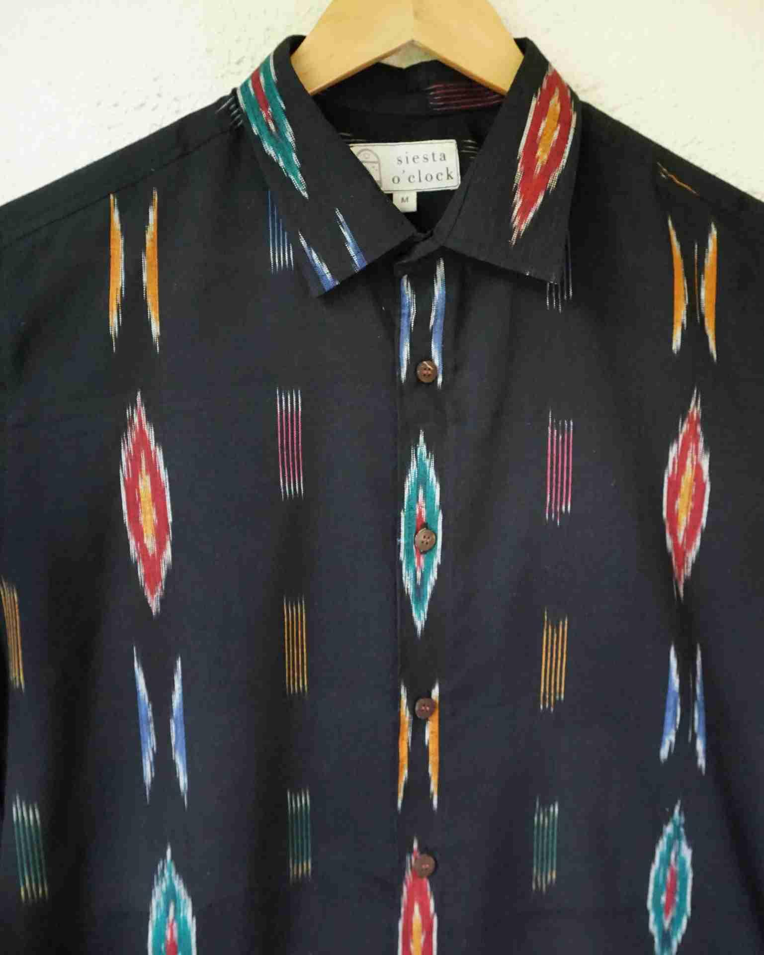 Black Ikat cotton shirt by Siesta o'Clock