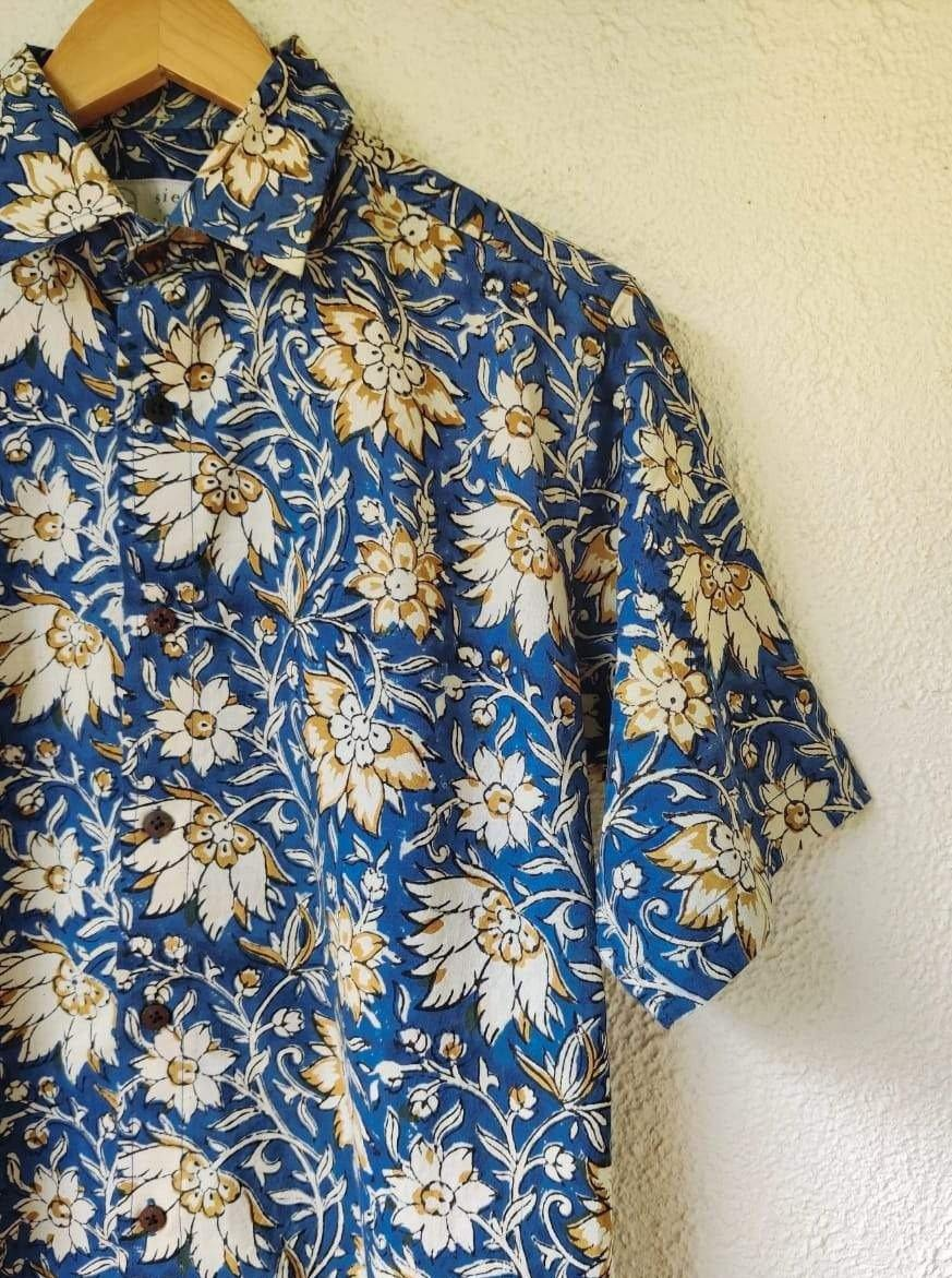Cool blue and white flowers soft cotton shirt from Siesta o'Clock Goa