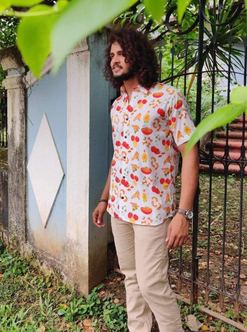 Buy the Vintage Pasta Print Shirt by Siesta o'Clock online