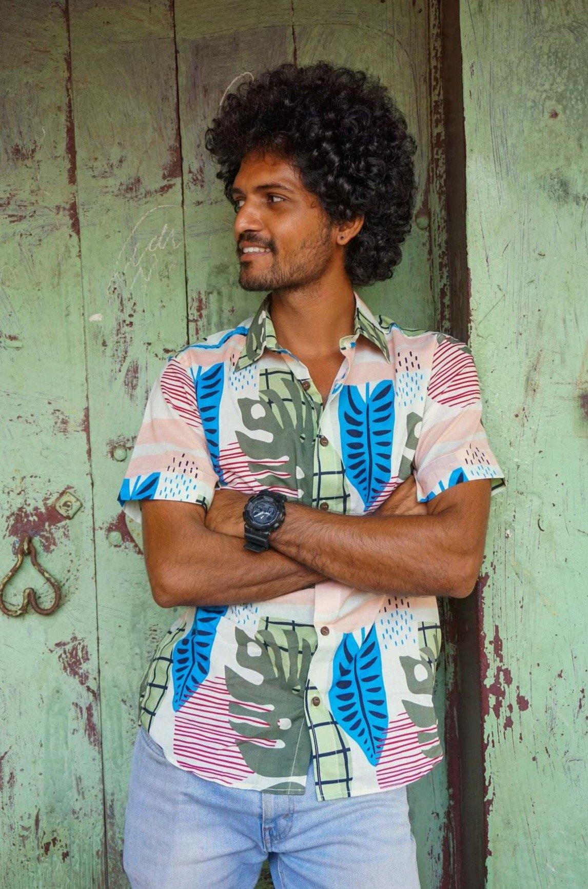 Abstract tropical pattern shirt from the Artist Edit collection by Siesta o'Clock
