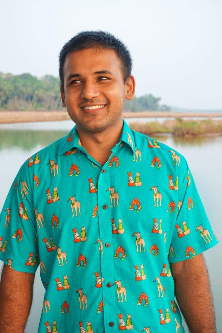Puppy and Dog print cotton shirt by Siesta o''Clock Goa