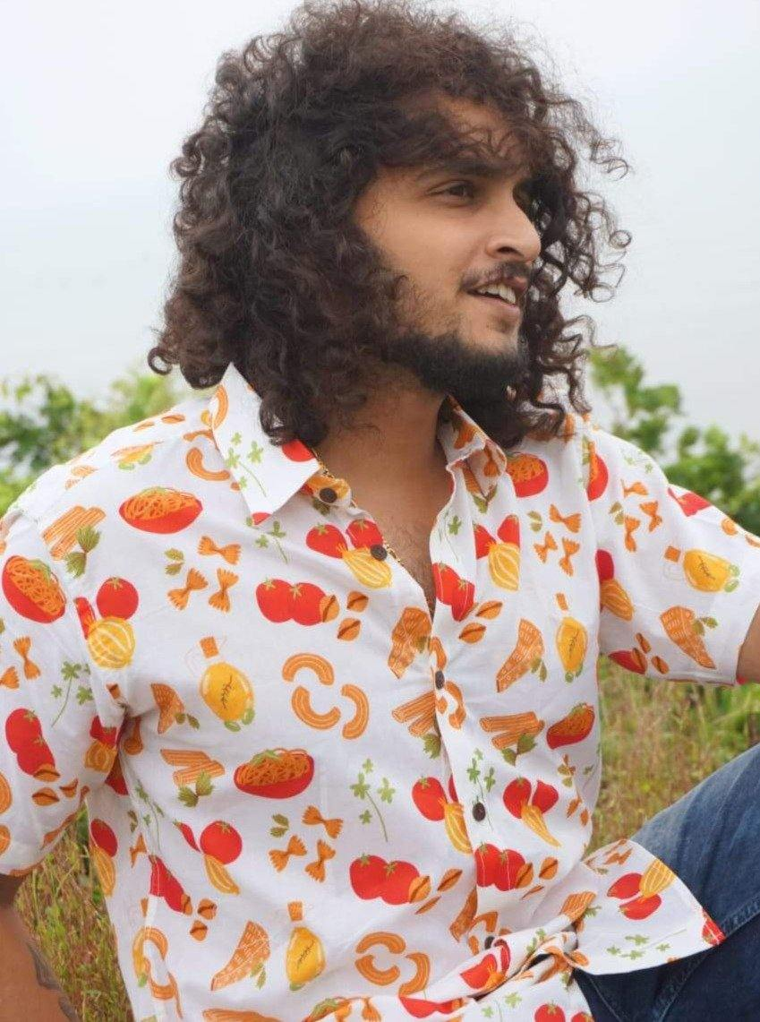 Buy the Vintage Pasta Print Shirt by Siesta o'Clock