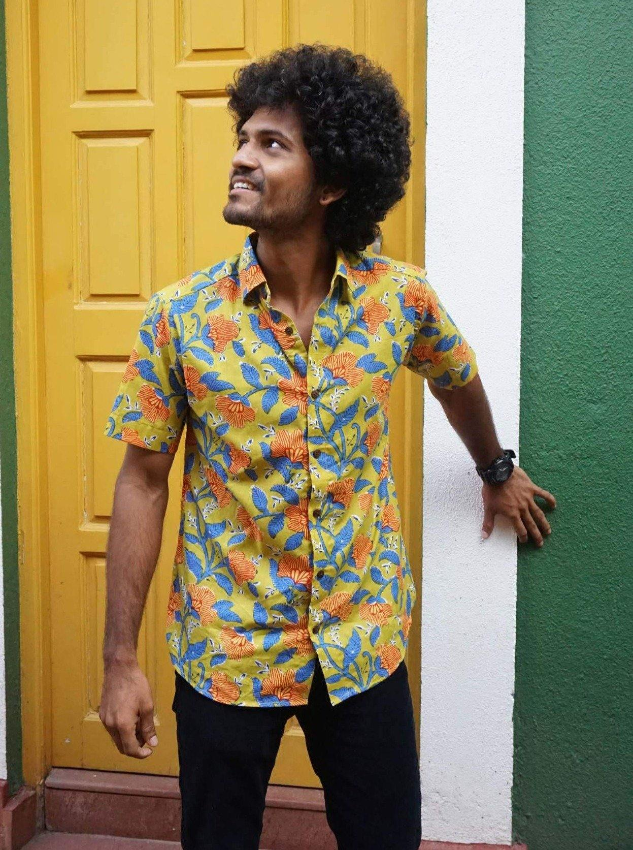 Mustard and blue print summery cotton shirt from Siesta o'Clock Goa