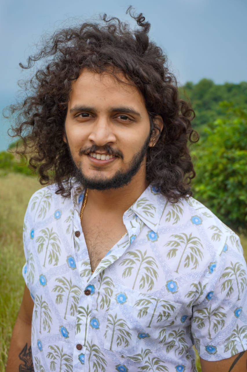 Palm print soft cotton shirt for summer online from Goa