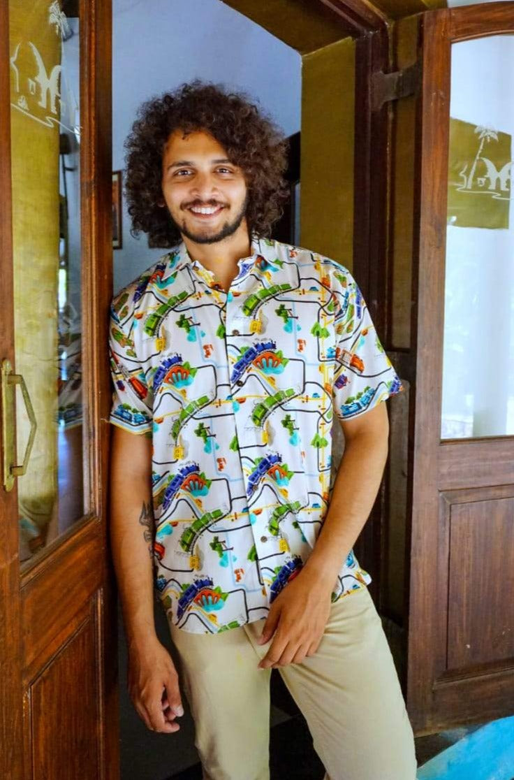 Quirky Art Train Print Cotton Shirt by Siesta o'Clock