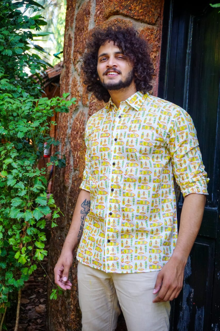 Quirky Goan wooden fishing boats print full sleeve cotton shirt by Siesta o'Clock online