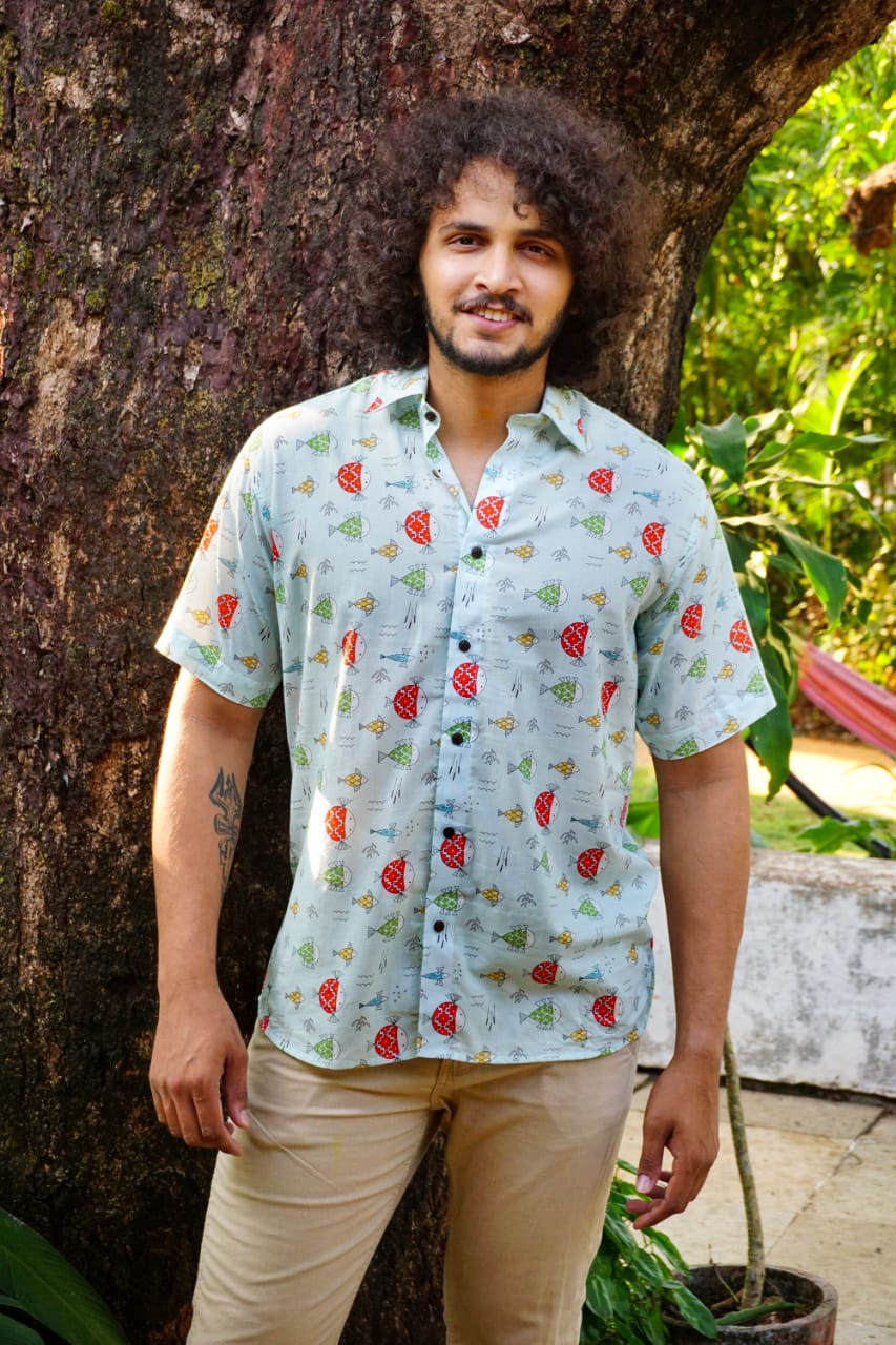 Quirky blue Goa mangrove fish print shirt by Siesta o'Clock