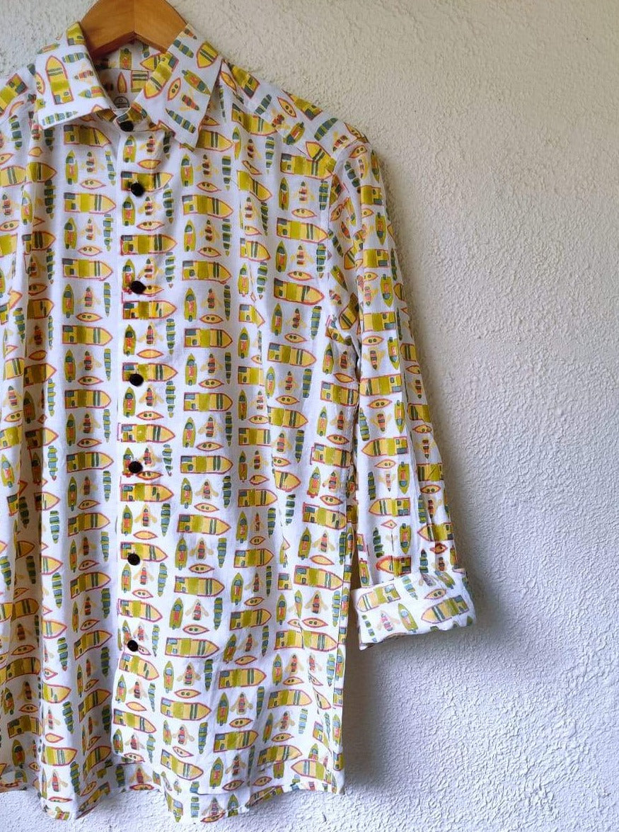 Quirky wooden boat print cotton shirt by Siesta o'Clock - long sleeve