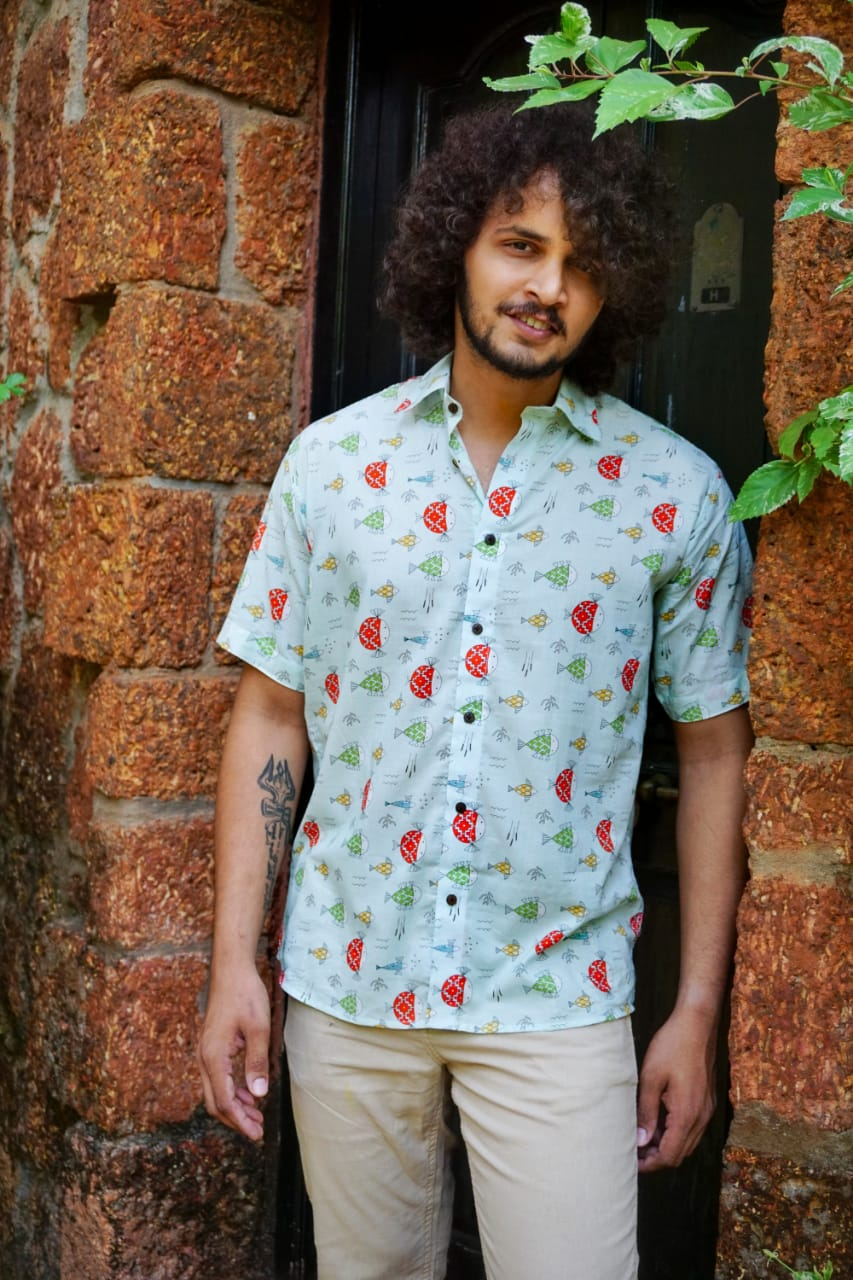 Soft half sleeve cotton shirt with a quirky print by Siesta o'Clock