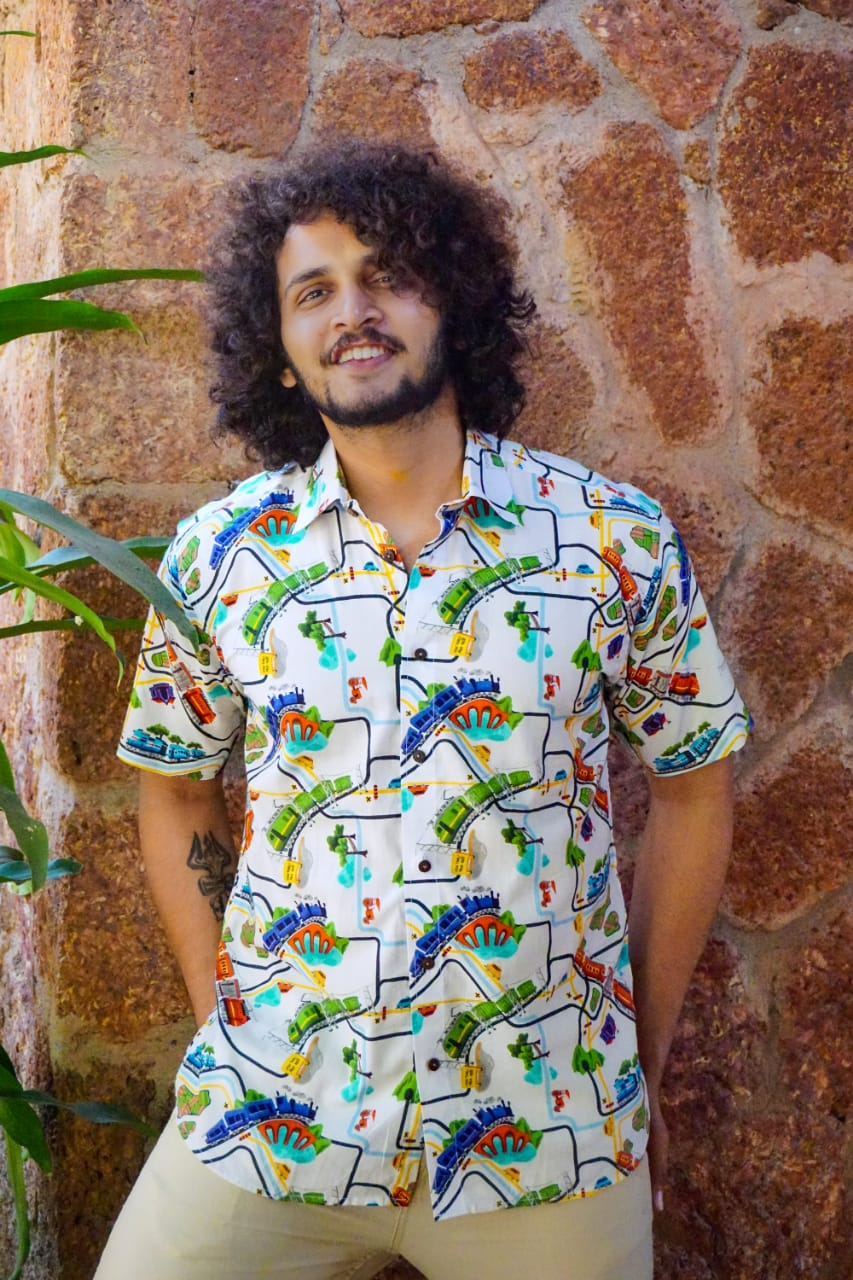 Train print cotton shirt for men by Siesta o'Clock
