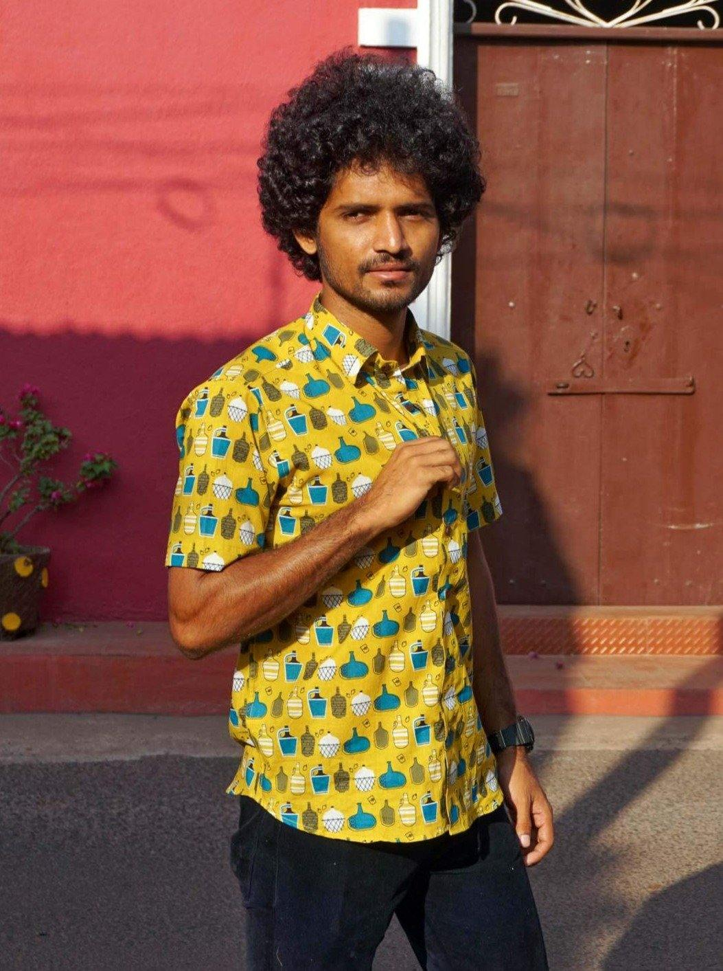 Vintage feni bottle Garrafao cotton shirt by Siesta o'Clock Goa heritage