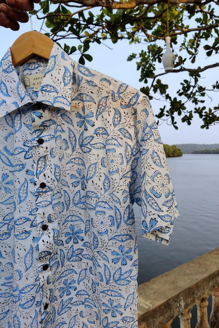 White and blue flowers block print cotton shirt by Siesta o'Clock