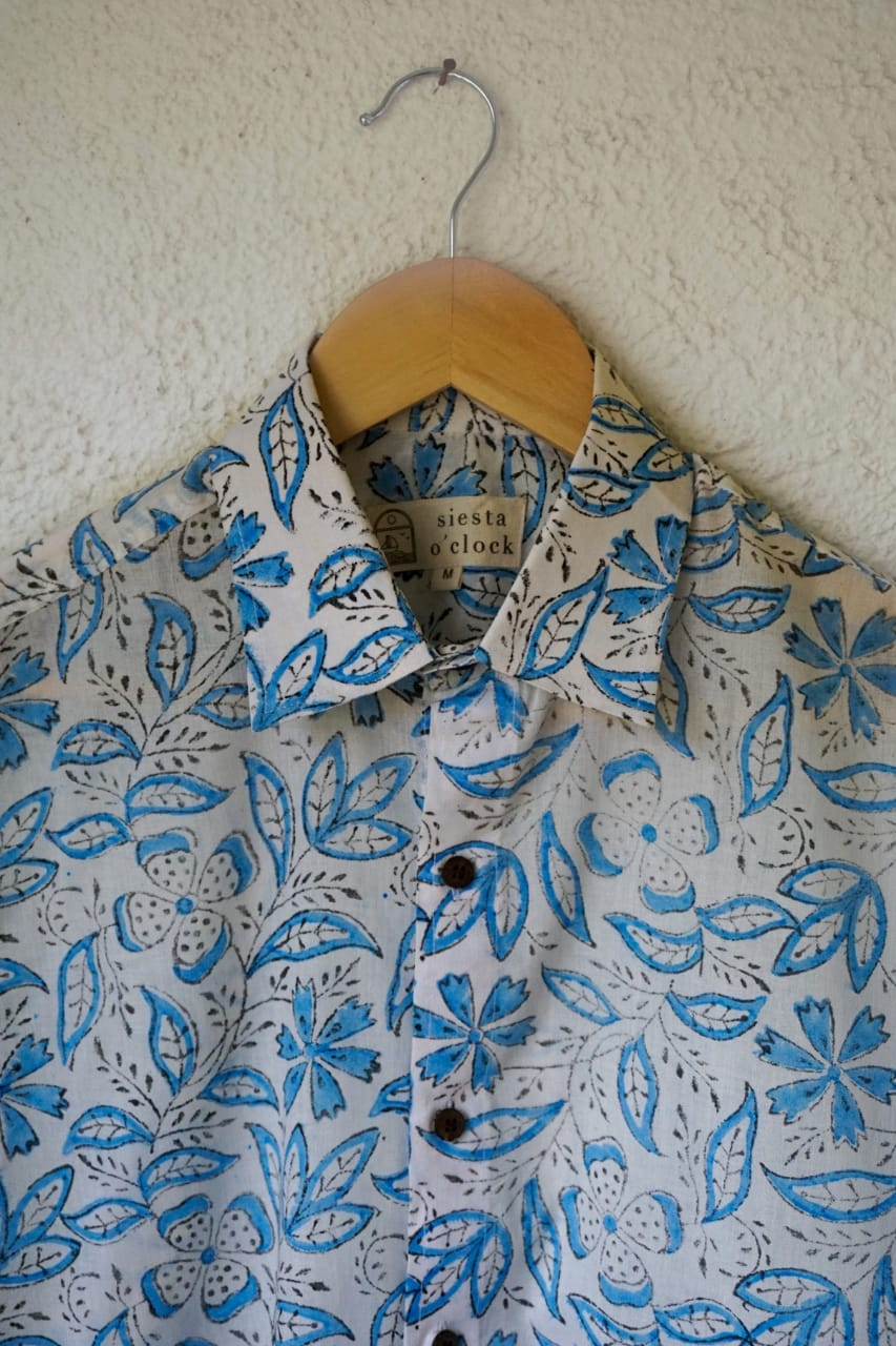 White and blue flowers block print cotton shirt for men
