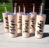 Personalized Stainless Steel Bridesmaid Tumbler with Straw and Bow, bridesmaid gift