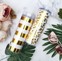 Personalized Gold Pattern Tumblers, Leopard Print or Stripes
