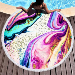 Circular Beach Towel, Paint Pour Design, Pink Sand