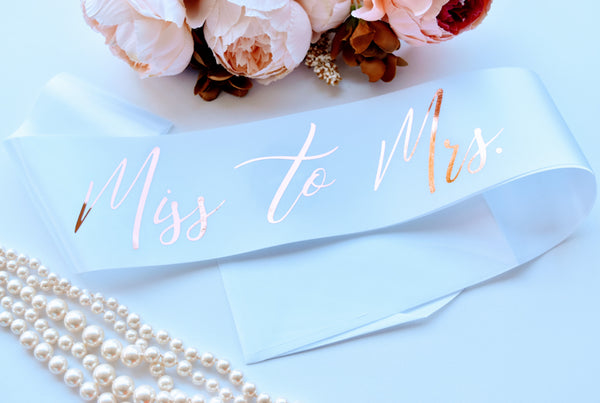 """Miss to Mrs"" Bride Sash, Bride to Be Gift"
