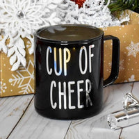 Christmas Stainless Steel Coffee Mug with lid, Black with Silver, Holiday Gift, Cup of Cheer