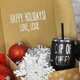 Christmas Stainless Steel Wine Tumbler with straw, Cup of Cheer, Holiday Gift, Black with Silver