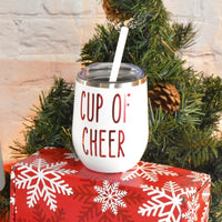 Christmas Stainless Steel Wine Tumbler with straw, Cup of Cheer, Holiday Gift, White with Red