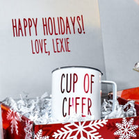 Christmas Stainless Steel Coffee Mug with lid, White and Red, Holiday Gift, Cup of Cheer